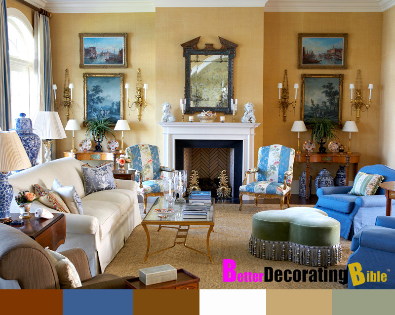 Yellow and Blue French Provincial Decorated Living and Dining Room