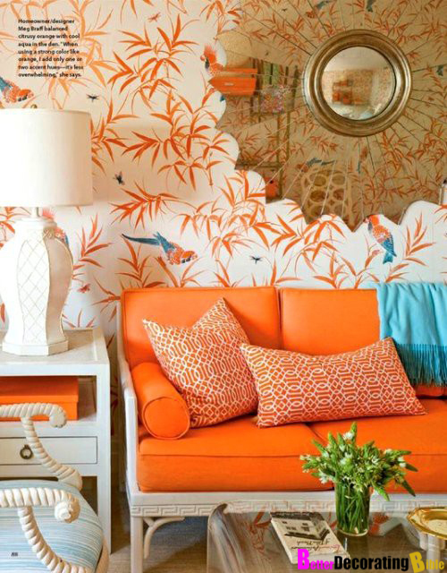 Orange Wallpaper Home Decor 2017 Grasscloth Wallpaper