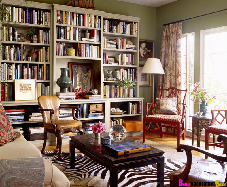 Olive Green Bohemian Living Room and Library