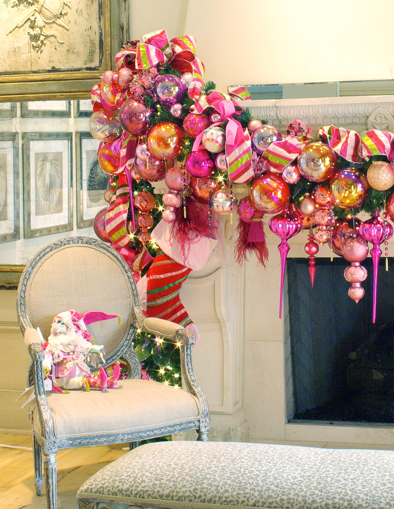 Decor Blog Fair With Pink Christmas Mantel Decorating Ideas Image