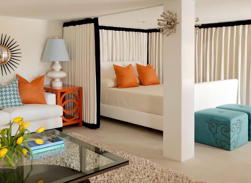 tobi fairley retro bedroom color blocking style canopy orange