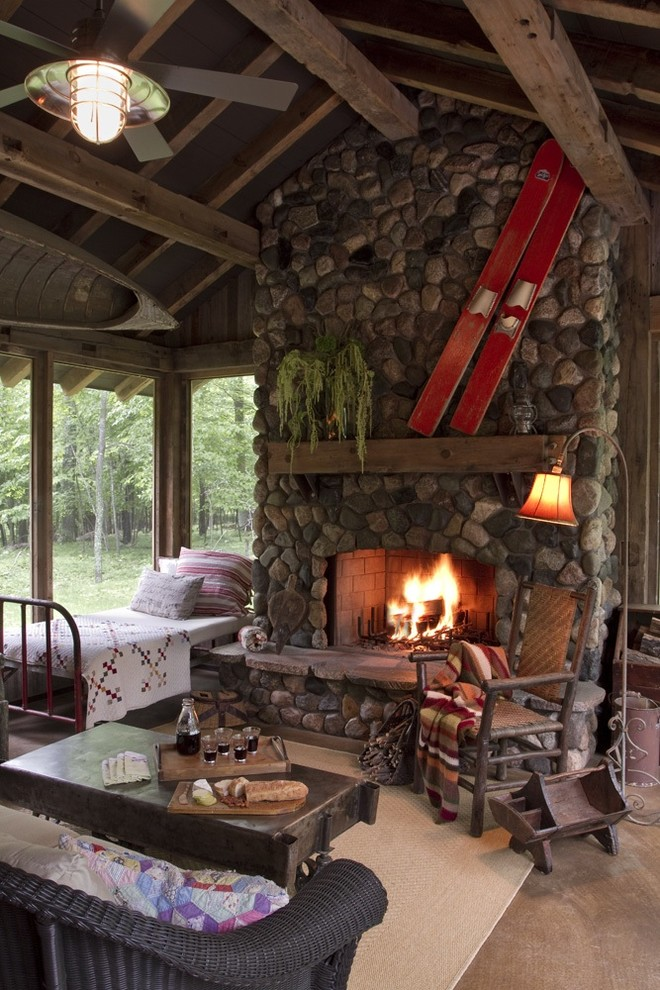 Cabin Cottage Decorating Stone Fireplace Wooden Furniture Better Bible Blog How To Rustic Porch