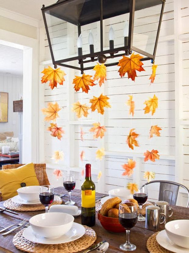 easy thanksgiving decor table how to candles centerpiece fall leaves ...