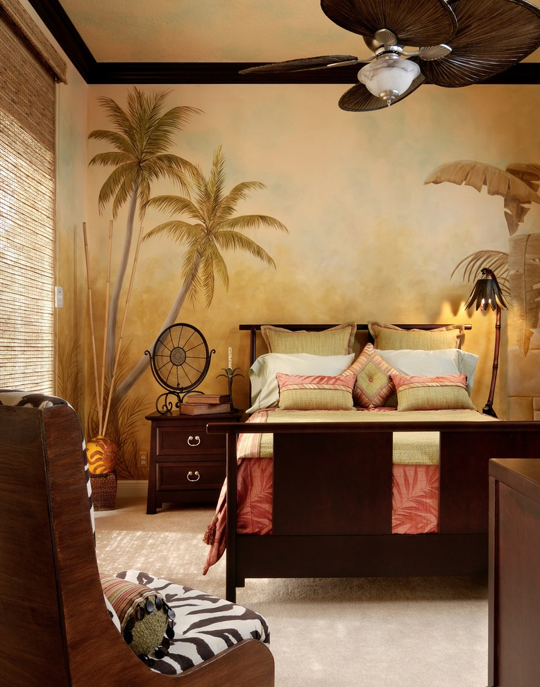 palm wall mural decorating tropical-bedroom