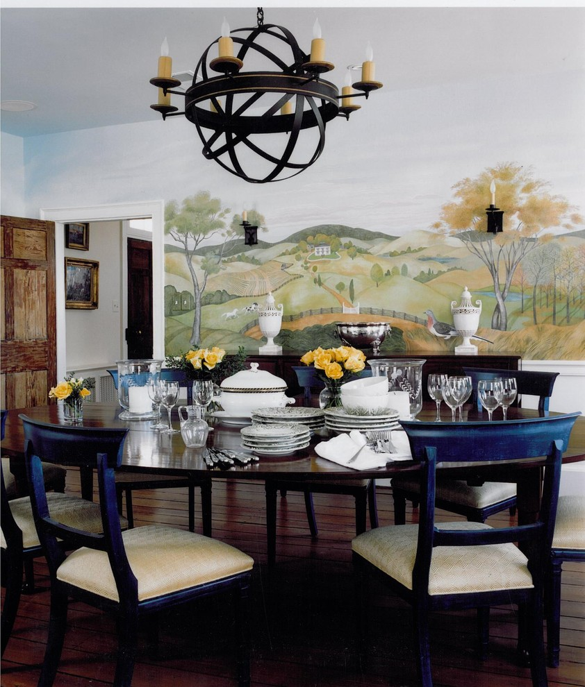 wall mural painting decorative traditional-dining-room