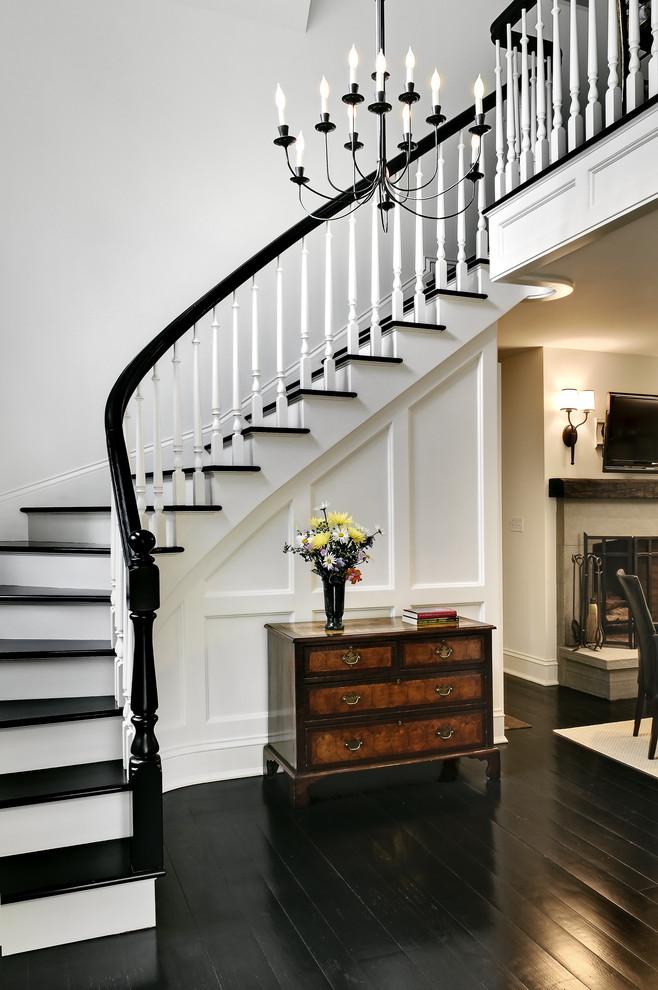 black hardwood traditional staircase - Black Wood Flooring