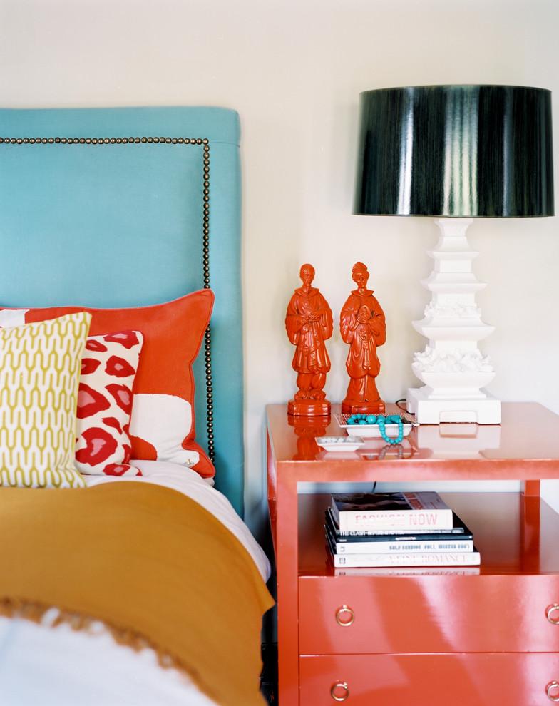 betsey burnham night stan orange blue headboard turqoise studded bedroom decorating