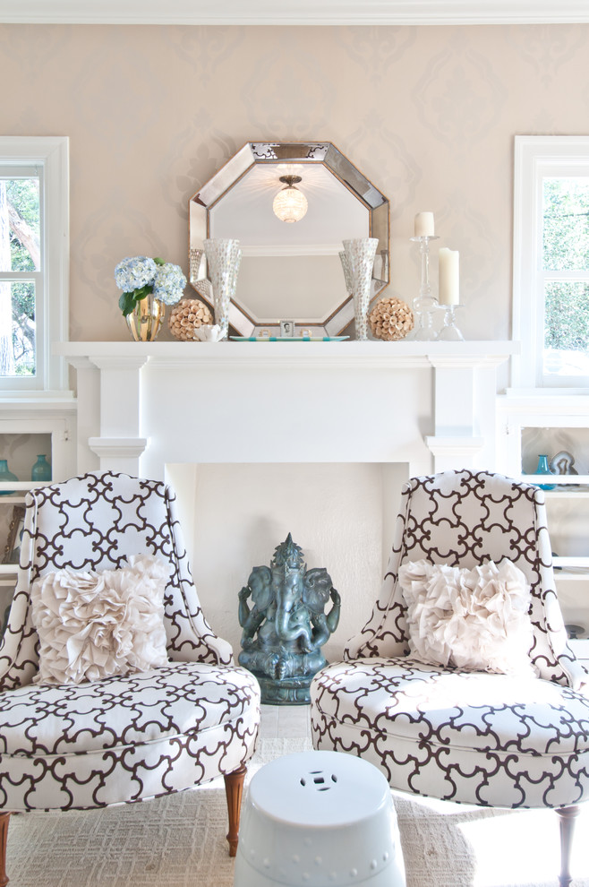 beach fireplace mantel mirror decor garden stool Traditional-Living-Room