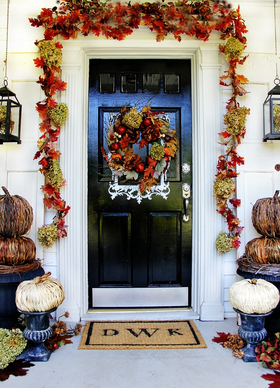 Cheap Budget Fall Porch Decorating Ideas Stenciled Welcome Mat