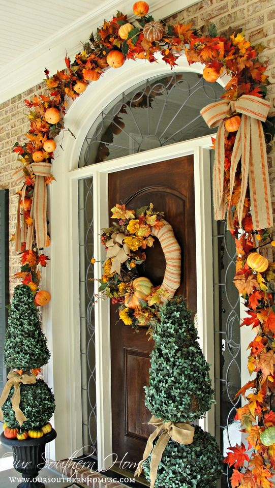 Fall Porch Decor Wreath Pumpkins Planters Garland Easy Ribbon Better  Decorating Bible Blog