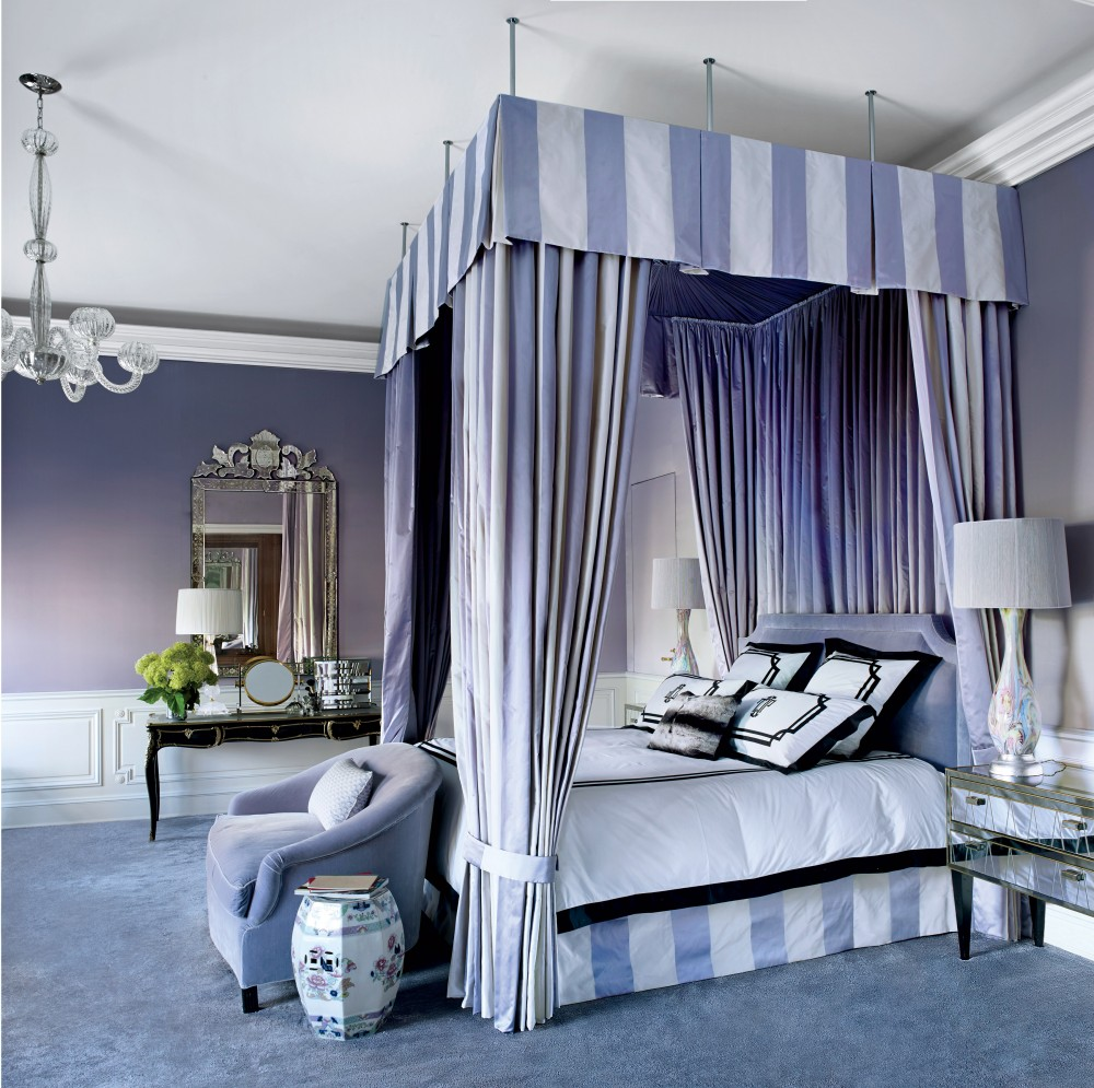purple canopy bed violet bedroom decorating