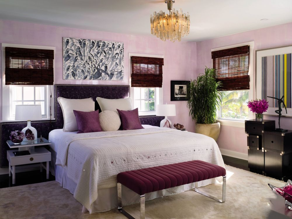 purple pink violet bedroom white decorating studded headboard ideas better decorating bible blog chandelier girly