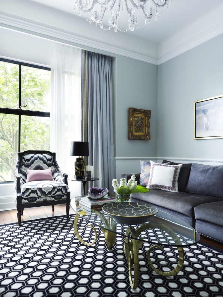 How to brighten up a bad view with window blinds curtains and shades - Grey and blue living room ...