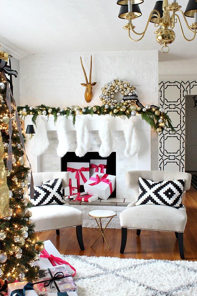holiday mantel christmas decor pink ideas