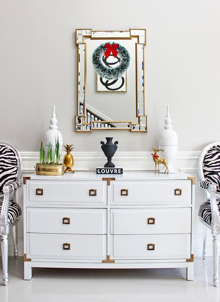 white zebra gold christmas holiday hallway decor ideas