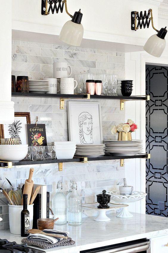kitchen glam shelves idea diy