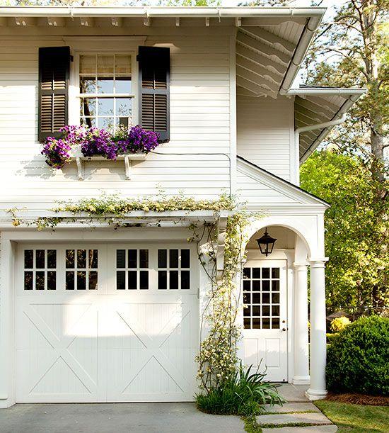 pretty white garage door