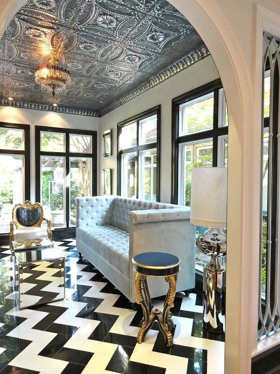 gorgeous glamorous living room chevron tiles silver tin ceiling
