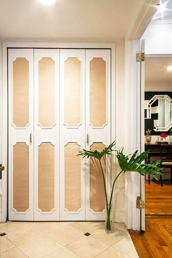 overlay closet doors with modling wallpaper decorating ideas