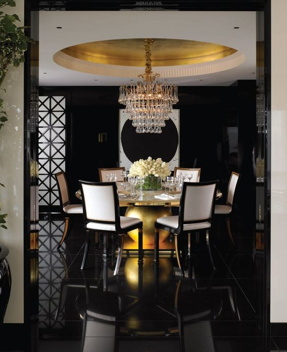 elegant dining room dark - photo #22