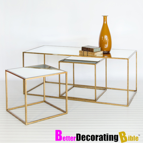 Gold Metal And Glass Coffee Table Coffetable
