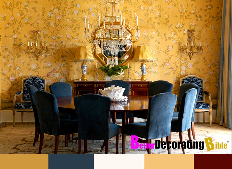 Southern mansions wallpaper joy studio design gallery for Yellow dining room decorating ideas