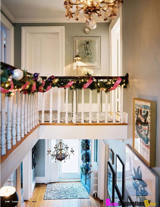 diy friday decorating with christmas garlands - Banister Christmas Garland Decor