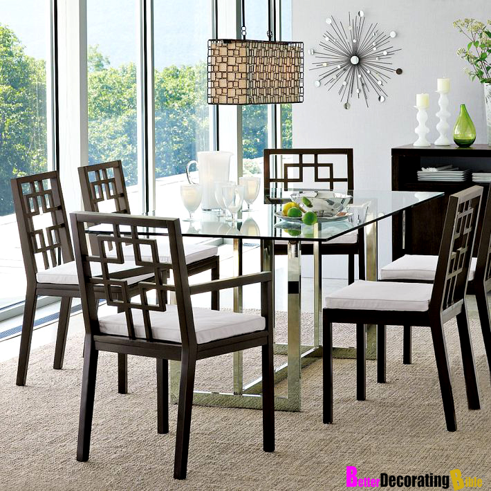 overlapping chairs asian style dining room furniture