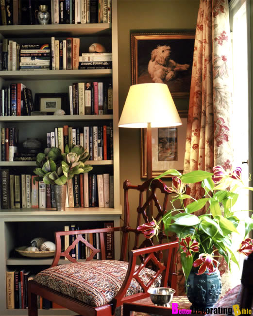 Suzy q, better decorating bible, blog, ideas, living room, library ...