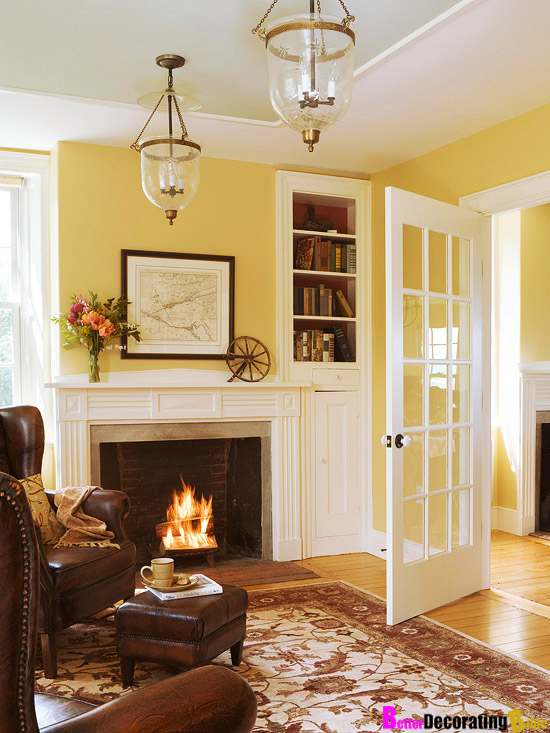 Wall colors living rooms idea french doors yellow room Yellow wall living room decor