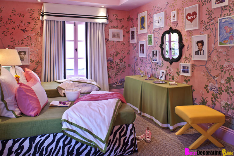 Suzy q better decorating bible pink chinoiserie girls room bedskirt zebra headboard - Wallpaper for girl teenage room ...