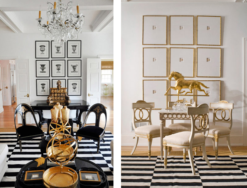 gold-white-balck-living-room-striped-rug-chandelier