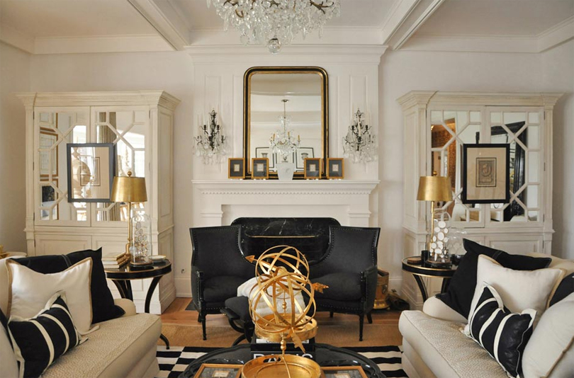 Black and gold living room for Living room ideas gold