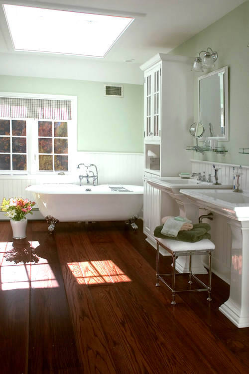 I love wood floors in bathrooms for the home pinterest for Hardwood floor in bathroom