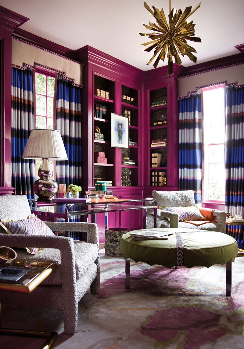 Suzy q, better decorating bible, blog, ideas, library, office, home,  purple, violet, walls, lacquered, wood paneling, vibrant, how to, get the  look, paint, ...