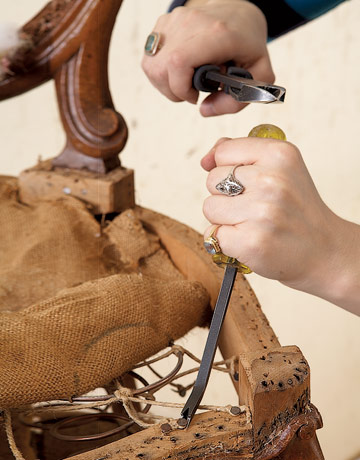 Diy friday how to reupholster a louis xvi chair - How to reupholster a living room chair ...