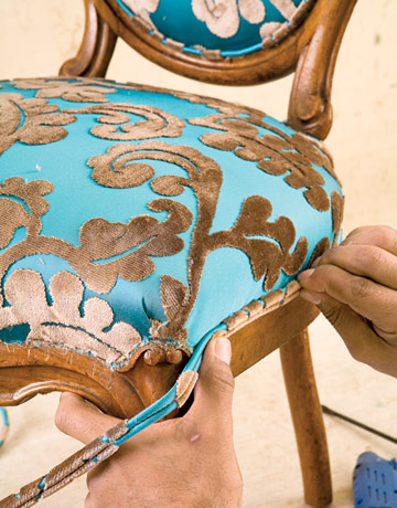 Ryan BenyiDIY Friday  How to Reupholster a Louis XVI Chair  . Reupholster Chairs Diy. Home Design Ideas