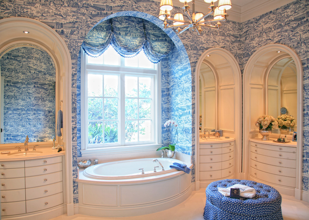 French Country Bathroom Decorating Ideas: French Toile, One Room, One Color, Monotone, Blue, Pink