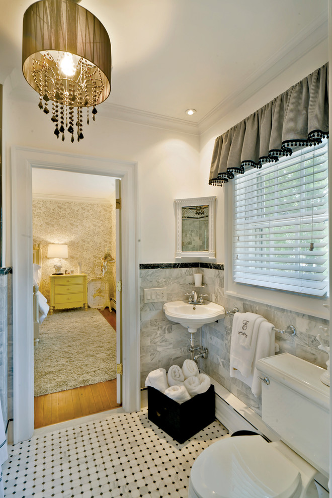 2 traditional-bathroom chandelier marble wooden cupboards decor how to columns circle ceiling better decorating bible blog