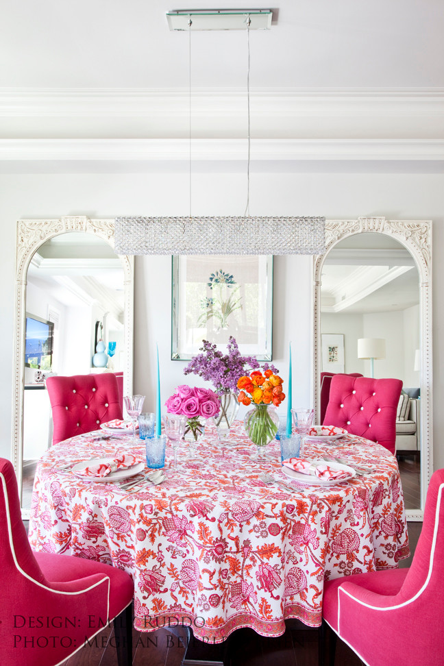 emily ruddo better decorating bible blog paisly table cloth bouquet flowers tufted hot pink chairs white walls summer spring modern-dining-room