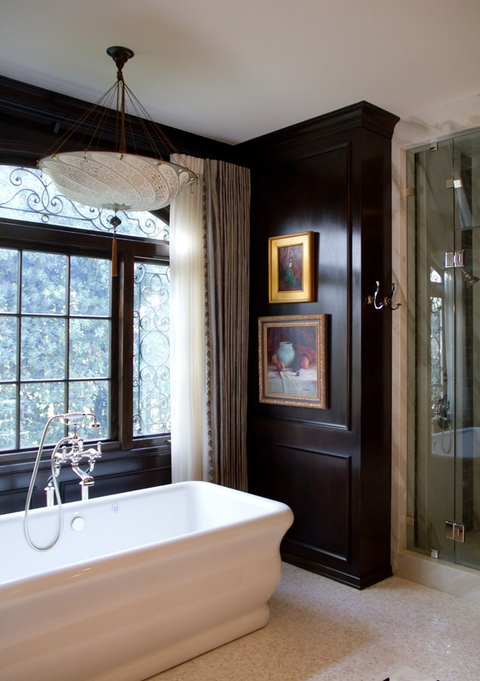 paint washroom black wooden panelling french colonial style better decorating bible blog traditional-bathroom