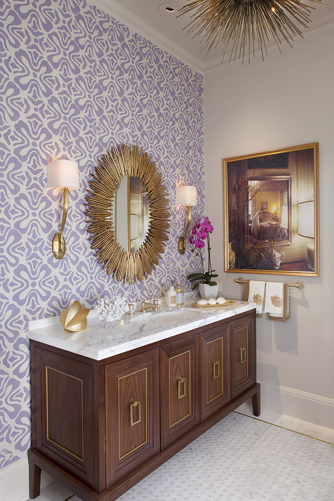 wallpaper purple design bathroom gold sunburst mirror mahogany vanity better decorating bible blog contemporary-bathroom