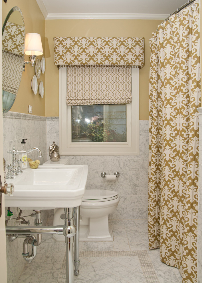 Washroom Makeover Roman Blinds Shower Curtain Chrome Faucet Hardware Better Decorating Blog Easy Fast Quitck