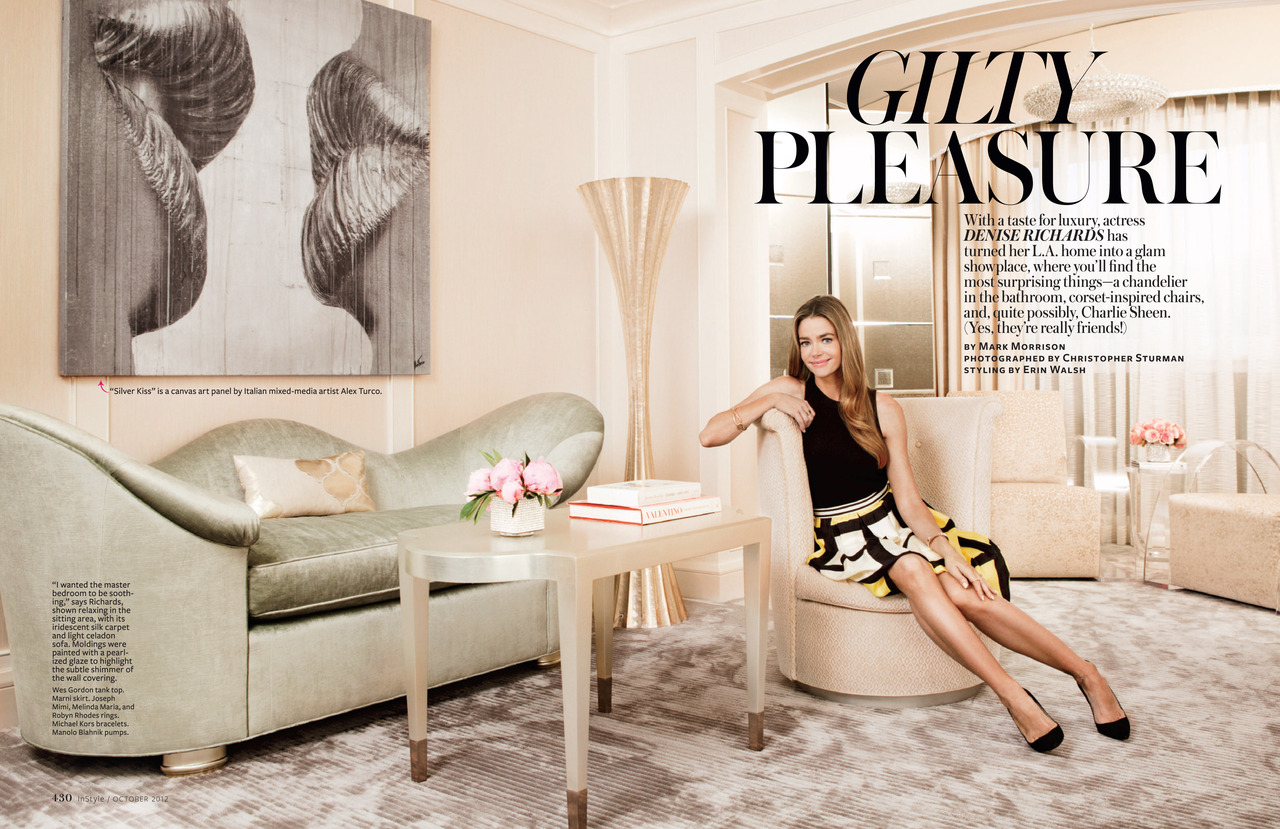 denise richards home tour celebrity decorating interior design at home feature blonde hair pretty skirt black top
