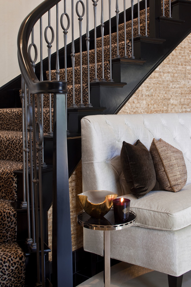 denise richards stair case home tour leopard stairs