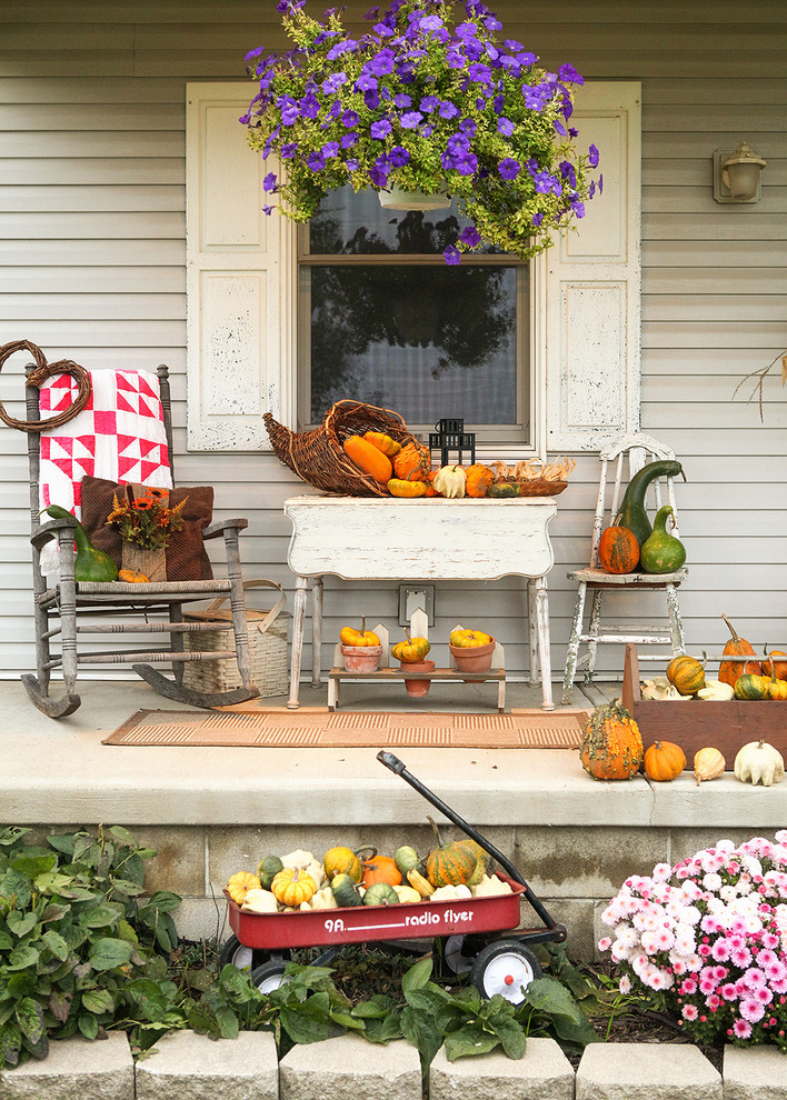 halloween porch pumpkins decor how to easy quick budget eclectic-porch