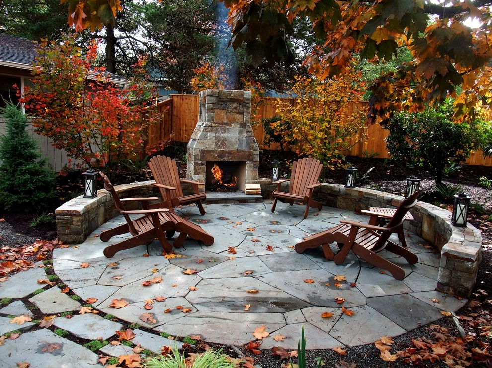 outdoor muskoka chairs fireplace seating fall leaves exterior how to enjoy garden better decorating bible blog traditional-patio
