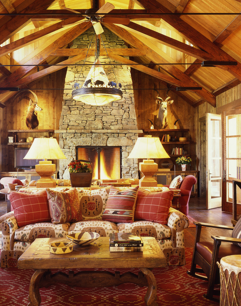 Get cozy a rustic lodge style living room makeover for Country cabin designs