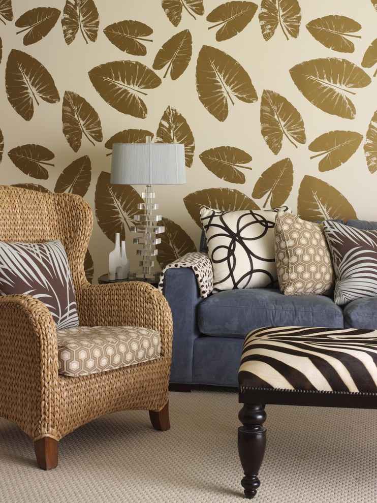 Make an iconic wall with floral palm and banana leaf for Gold wallpaper living room