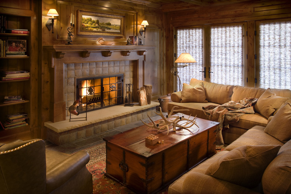 Get cozy a rustic lodge style living room makeover for Cozy family room designs